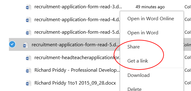 sharing from OneDrive for Business