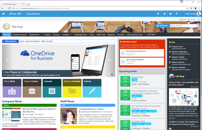Sharepoint intranet the hub for Company intranet template