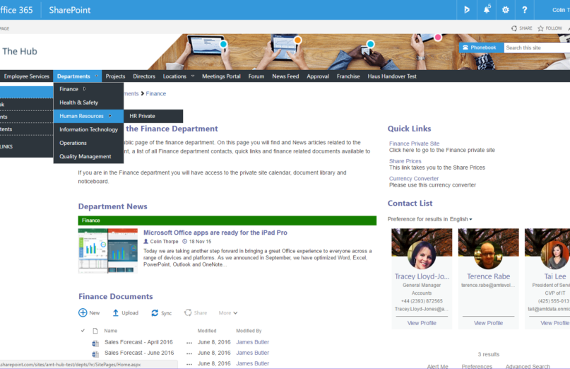 SharePoint Intranet Team Site Page