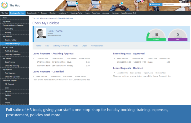 SharePoint Intranet Hub Holiday Booking