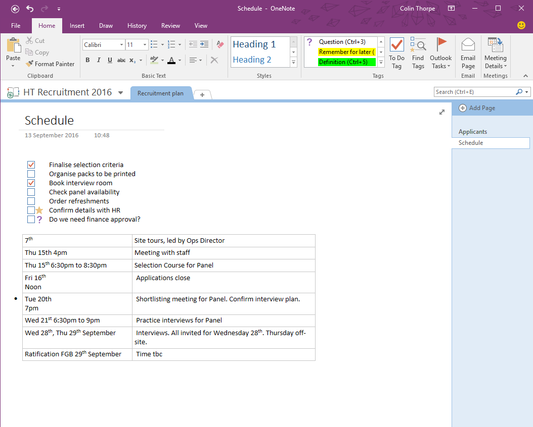 OneNote Sample