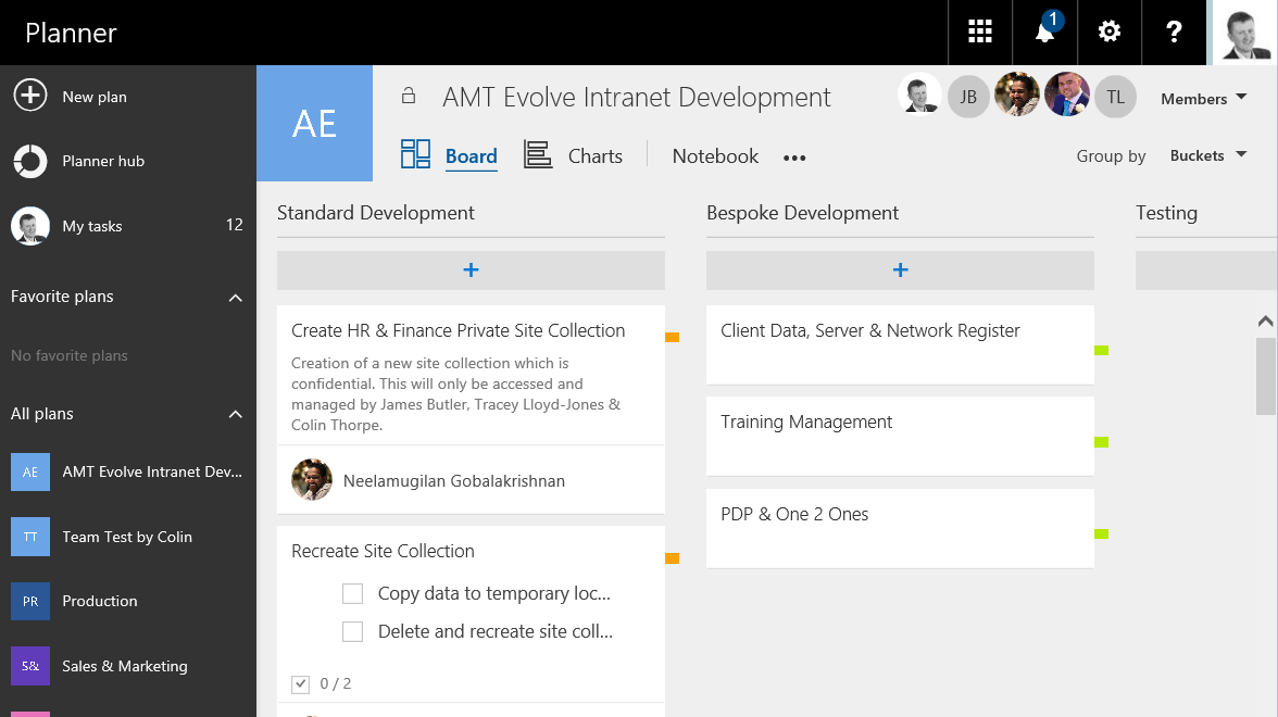 Microsoft Planner Home Page