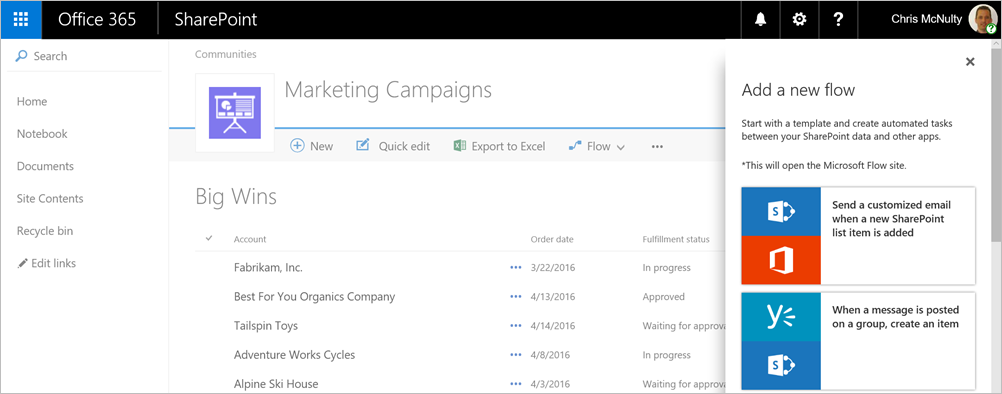 Modern SharePoint lists with flow