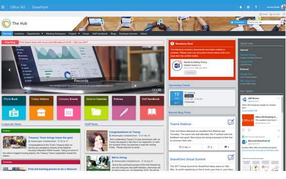 the hub  a sharepoint intranet built with your business in